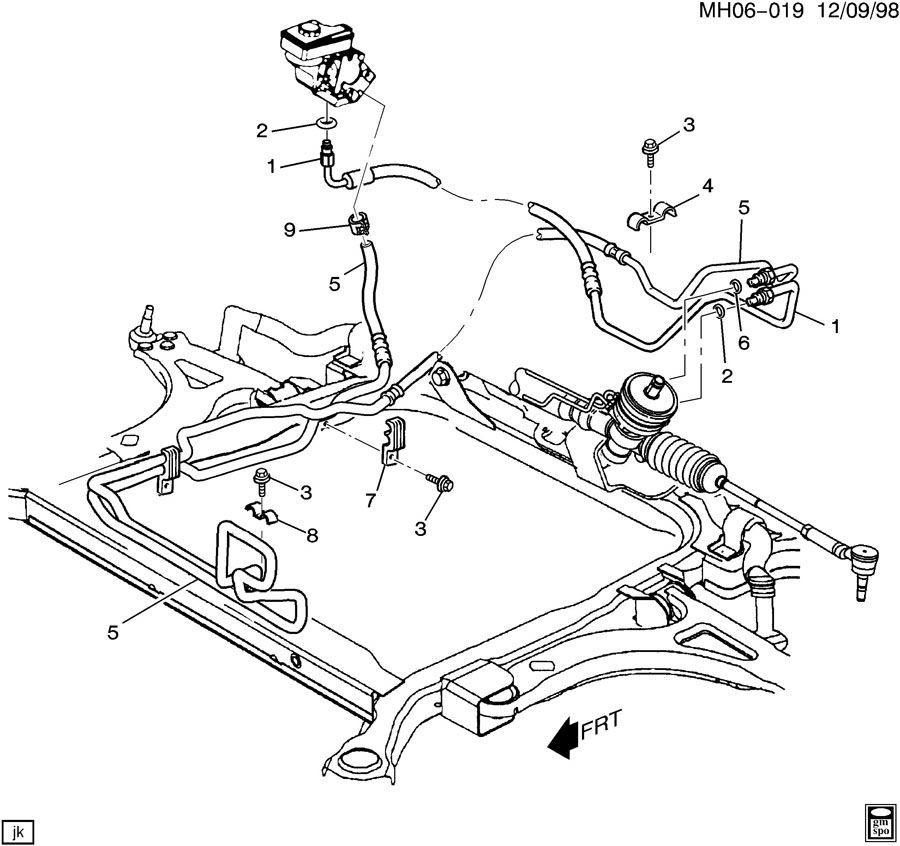 2003 Buick Lesabre STEERING PUMP LINES
