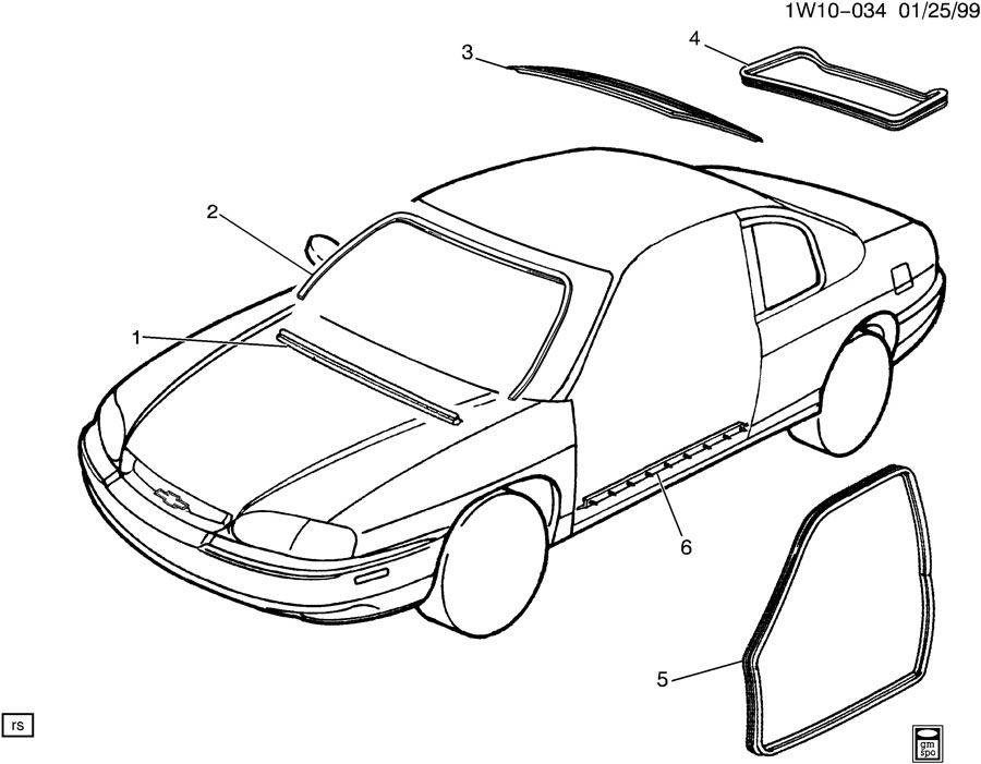 2001 Chevrolet Monte Carlo Weatherstrip. Door weatherstrip