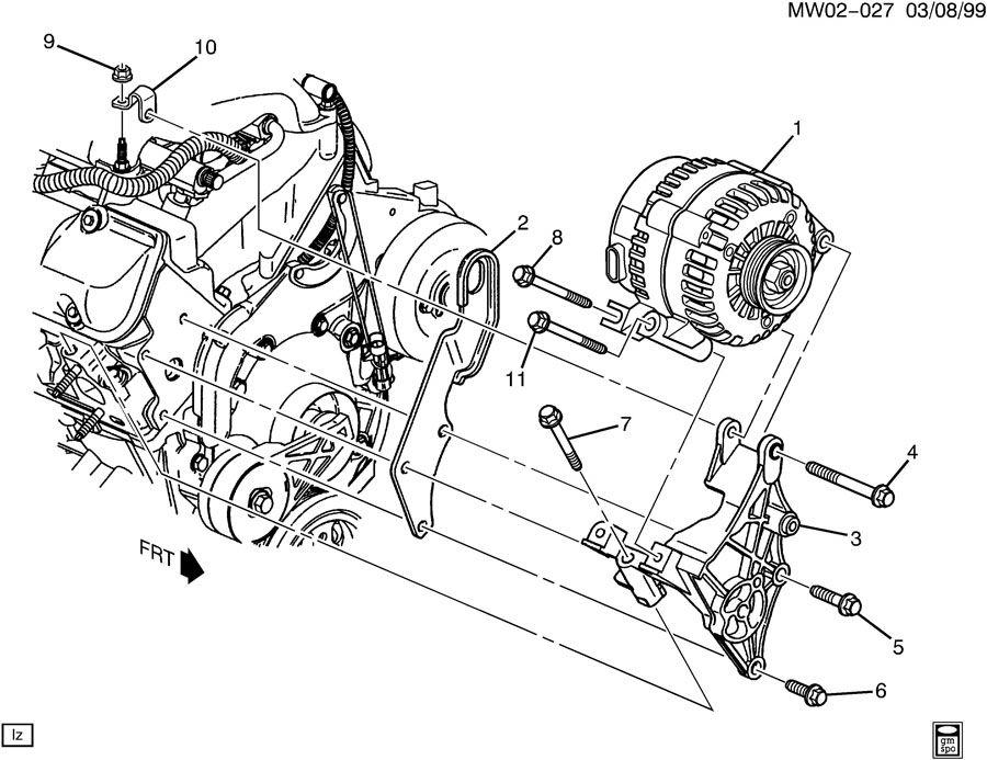 2000 Chevrolet Impala Bracket. Generator mounting