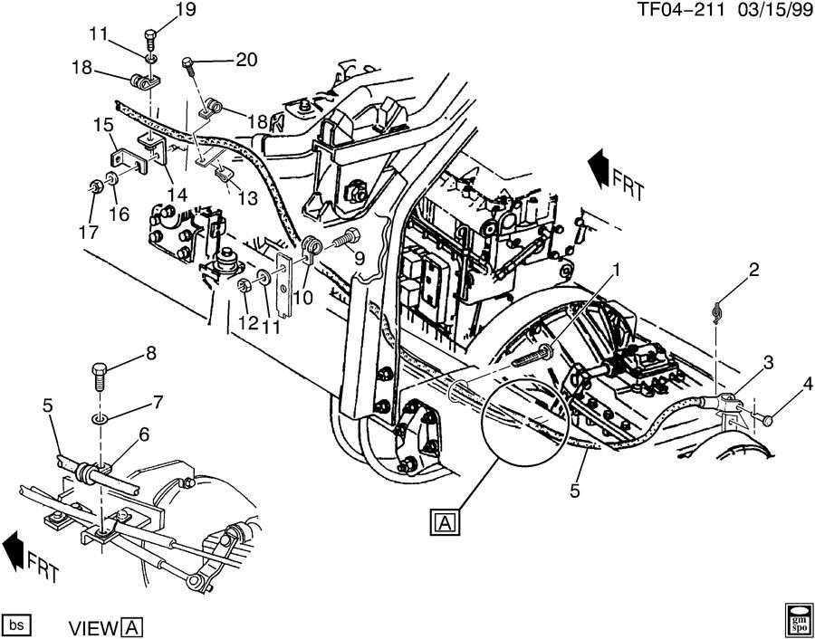 Chevrolet T6500 Cable. Parking brake. Cable, park brk(v