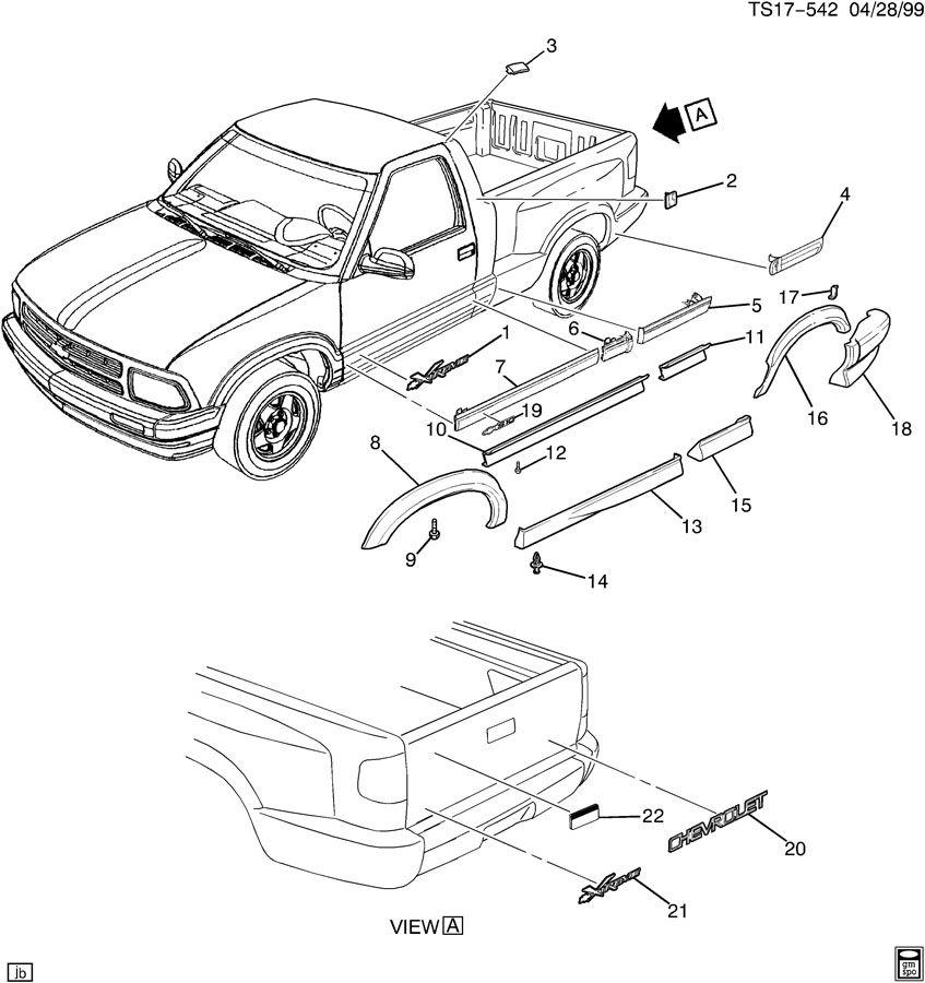 Chevrolet S10 Extension. Rear bumper step. Extension, rr