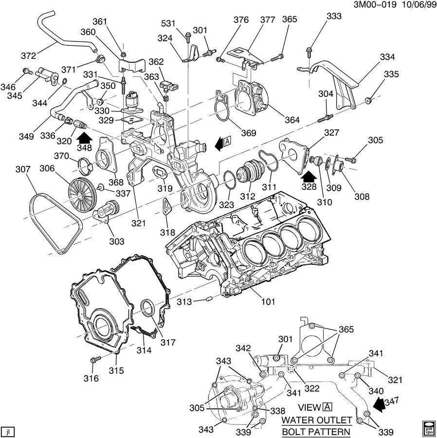 1996 Cadillac Deville ENGINE ASM-4.0L V8 PART 3 FRONT