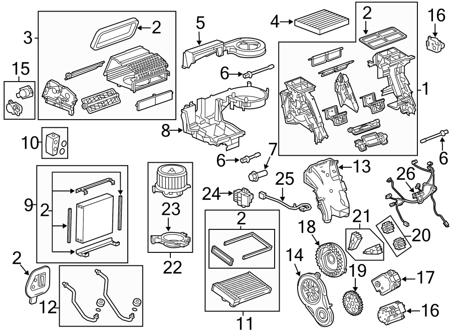 Cadillac SRX Actuator. Air conditioning (a/c) control