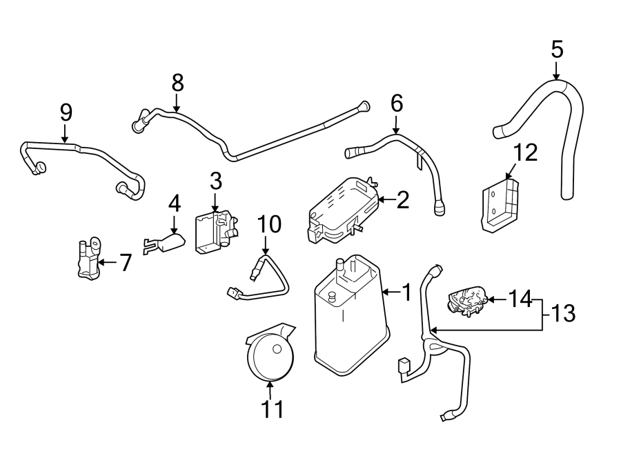 2013 Chevrolet Camaro Evaporative Emissions System Lines