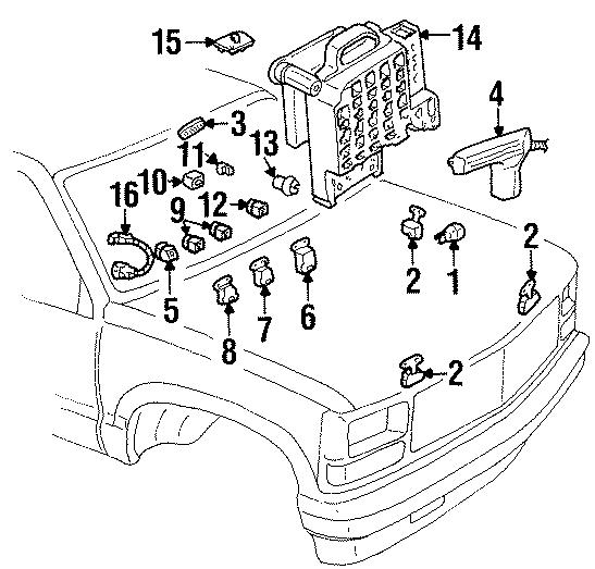 1995 Chevrolet K1500 Fuse Box. 1995-00, 1997-00. 1997-02