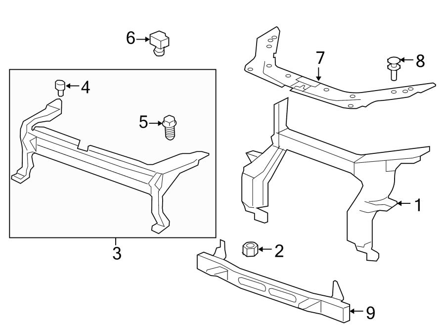 GMC ACADIA Support. Bumper/fascia. Support, frt bpr fascia