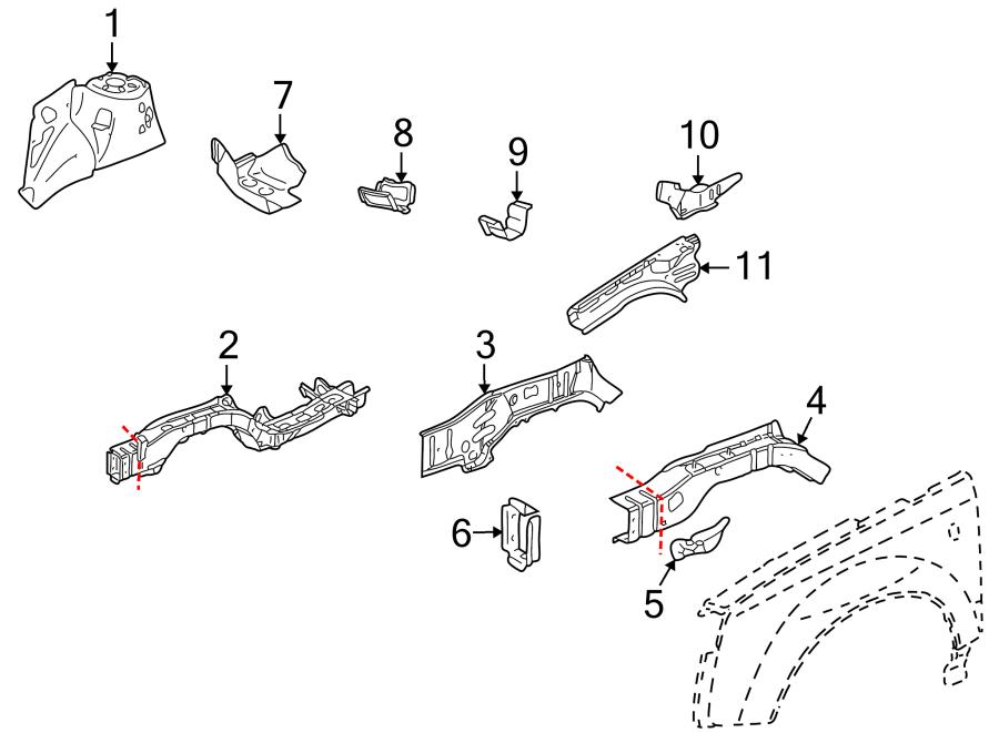 2003 Saturn Vue Fender Rail Reinforcement (Front, Rear