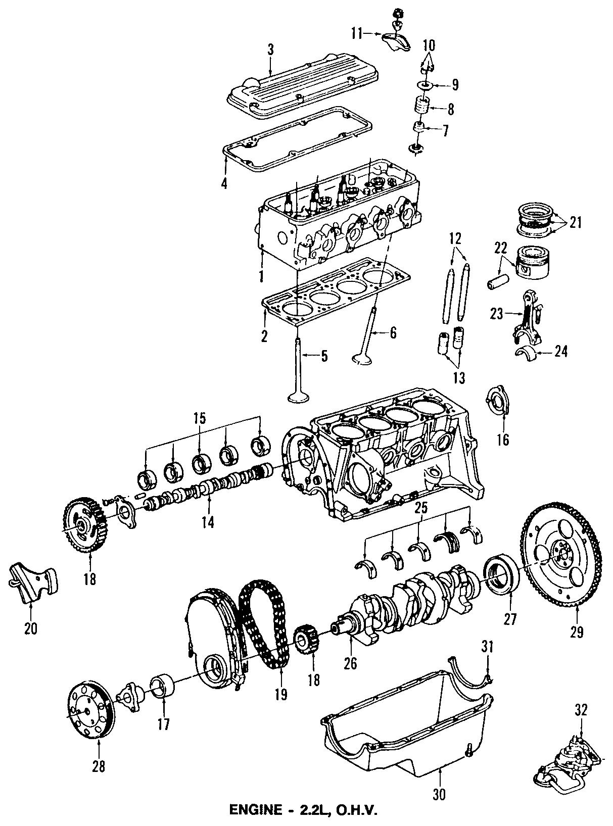 Chevrolet S10 Gasket. Engine camshaft & balance shaft hole
