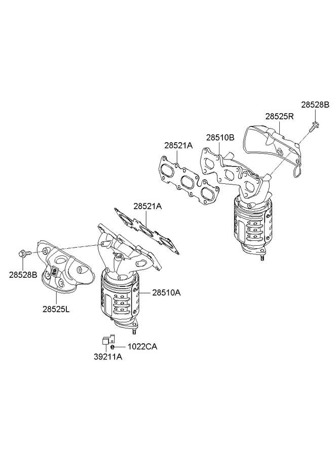 2007 Hyundai Santa Fe Manifold catalytic assembly