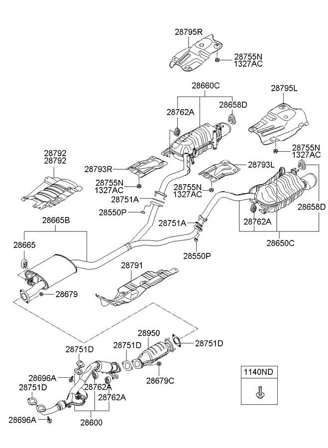 2008 Hyundai Santa Fe Gasket. Muffler. Pipe. EXHAUST. 2014