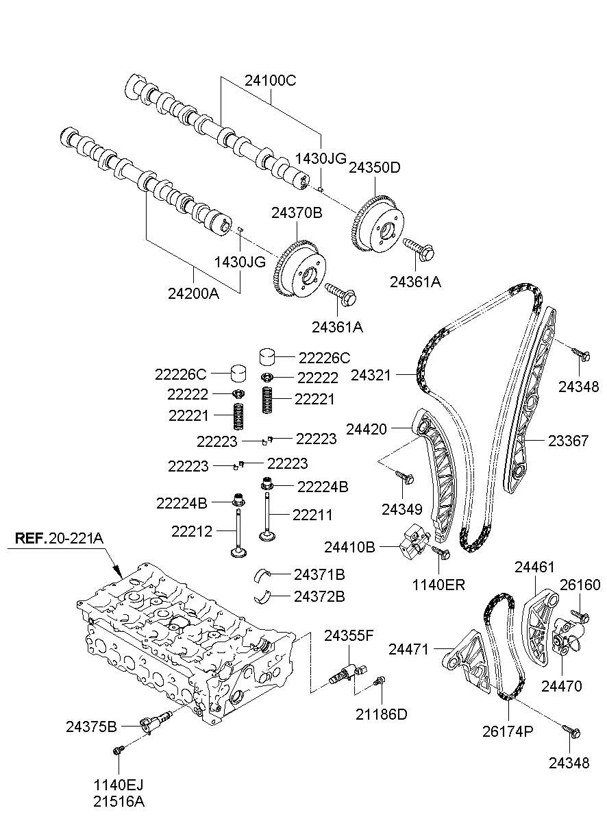 2010 Hyundai Santa Fe Engine Timing Chain Tensioner