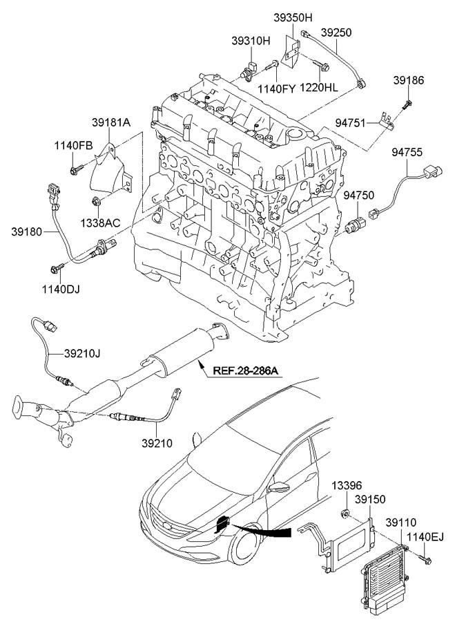 Hyundai Sonata Engine Control Module. 2.4L, manual trans