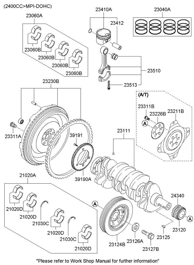 Hyundai Sonata Crankshaft. Sprocket. Gear. Timing. Engine