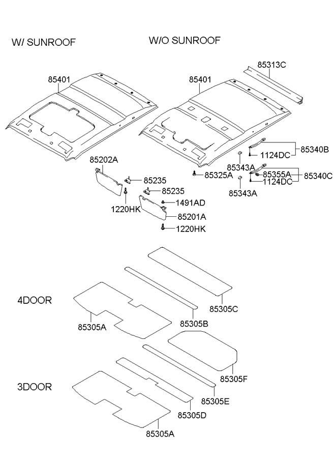2001 Hyundai Accent Sunvisor assembly, left ( left hand