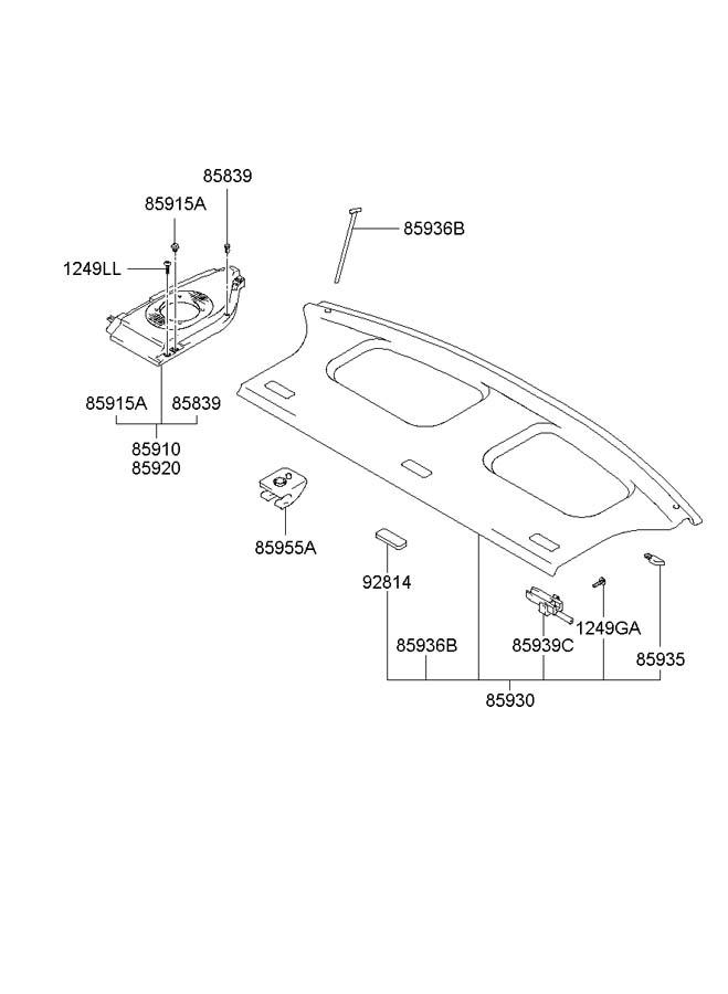 2003 Hyundai Accent Trunk Trim Panel Clip. HATCHBACK