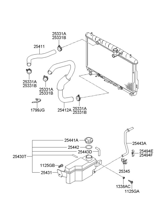 Service manual [2005 Hyundai Santa Fe Lower Radiator Hose