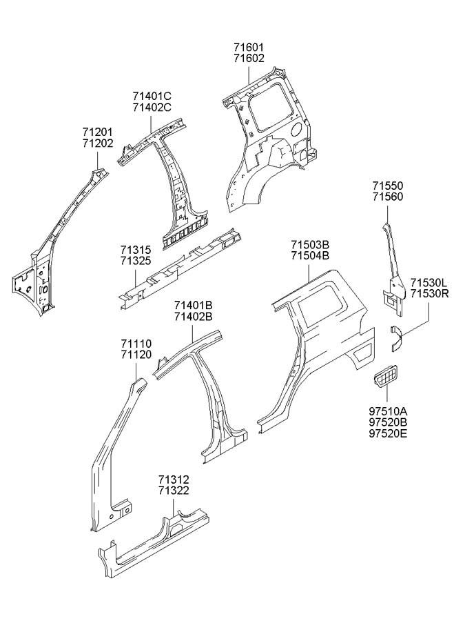 2005 Hyundai Santa Fe Panel assembly rear ( rear (rr