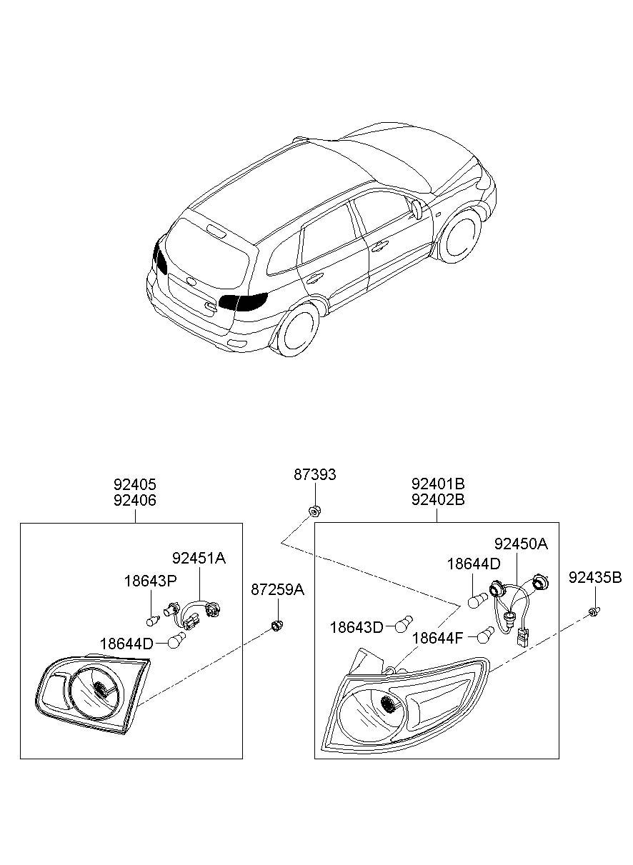 2007 Hyundai Santa Fe Holder & wiring rear ( rear (rr