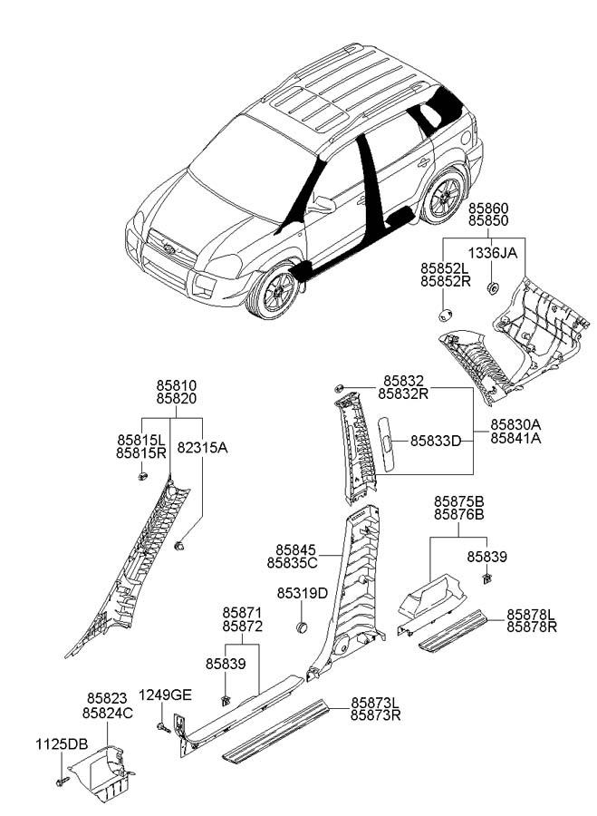 2006 Hyundai Tucson Trim assembly rear ( rear (rr) ) door