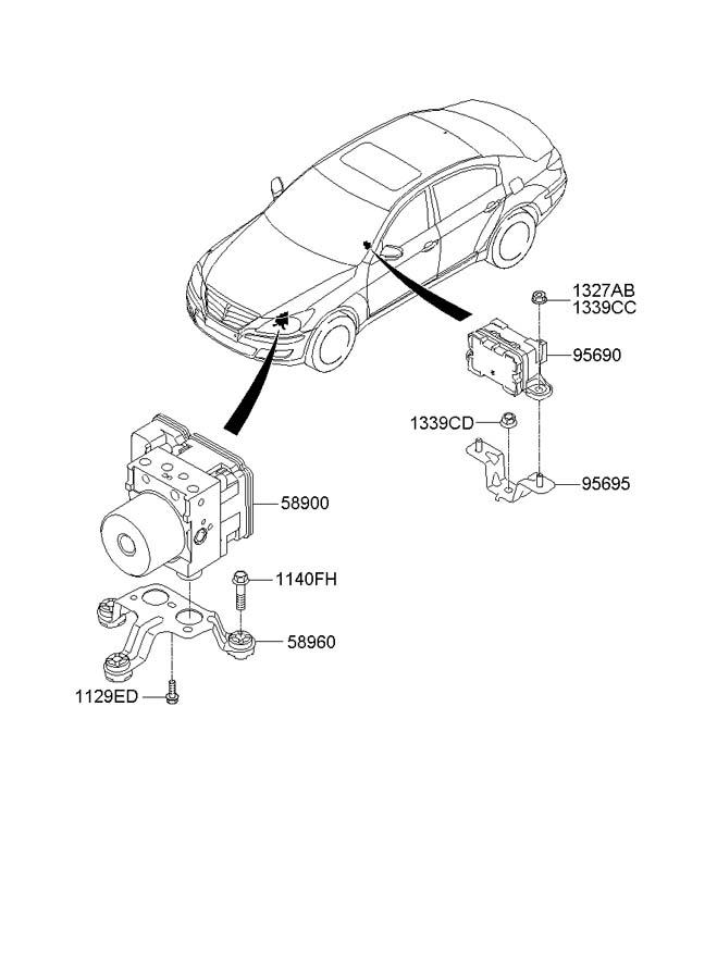 2011 Hyundai GENESIS Hydraulic. Abs. Control unit. Module