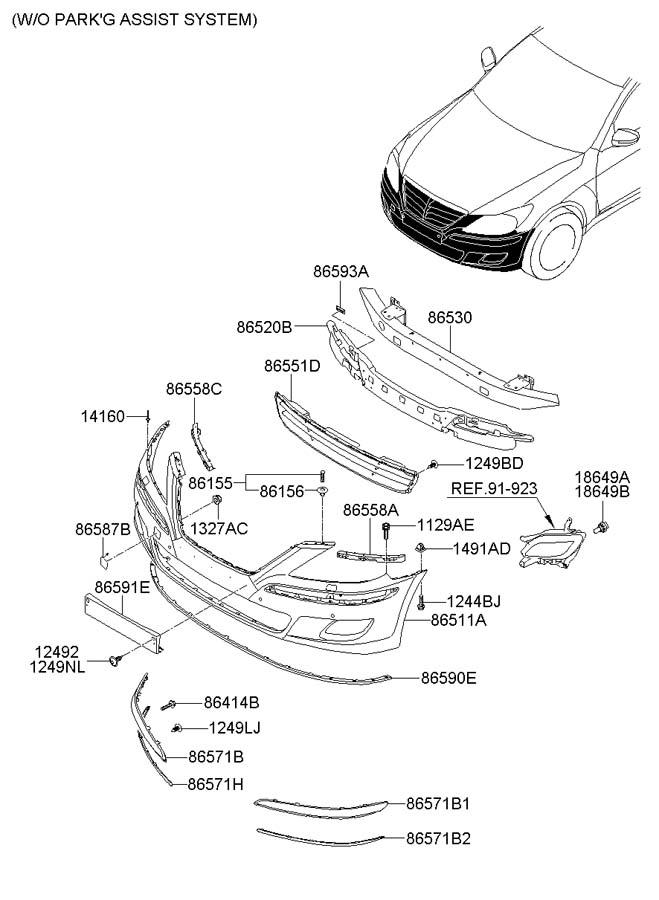 2012 Hyundai GENESIS Cover. Bumper. FRONT B. Upper. 2012