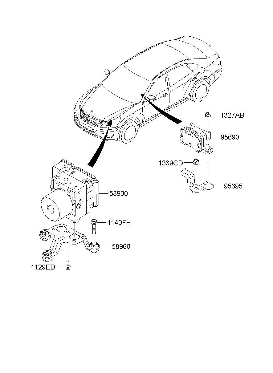 2011 Hyundai EQUUS Hydraulic. ABS. Control unit. MODULE