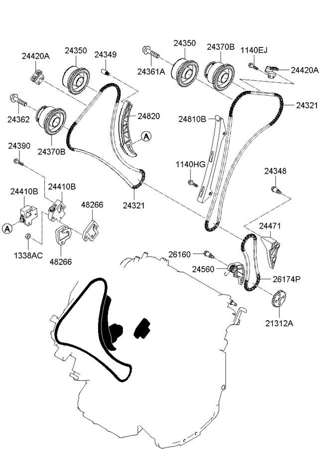 Hyundai Genesis Coupe Oil control valve, ex left ( left