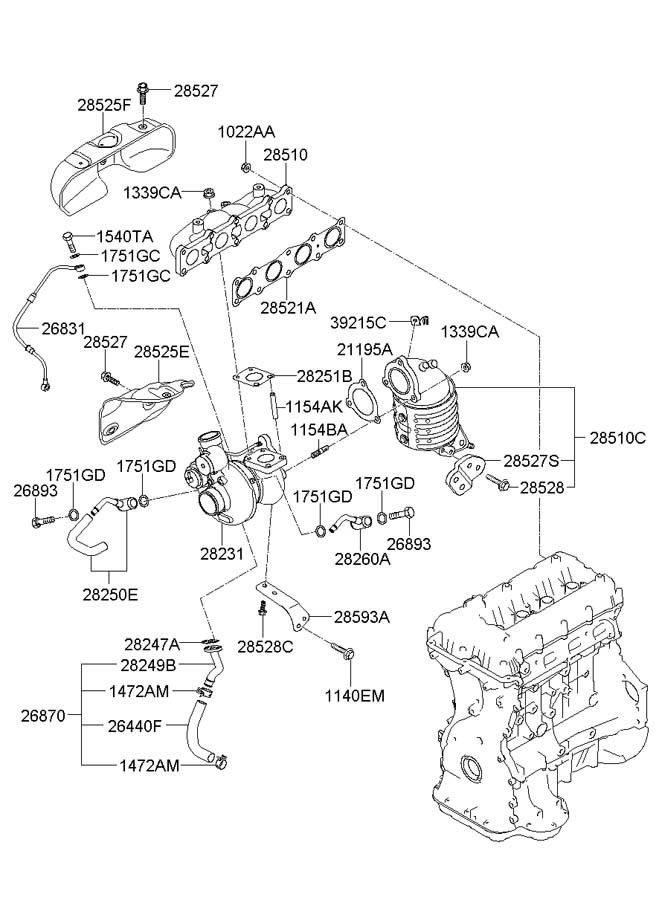 2011 Hyundai Genesis Coupe Turbocharger Oil Line