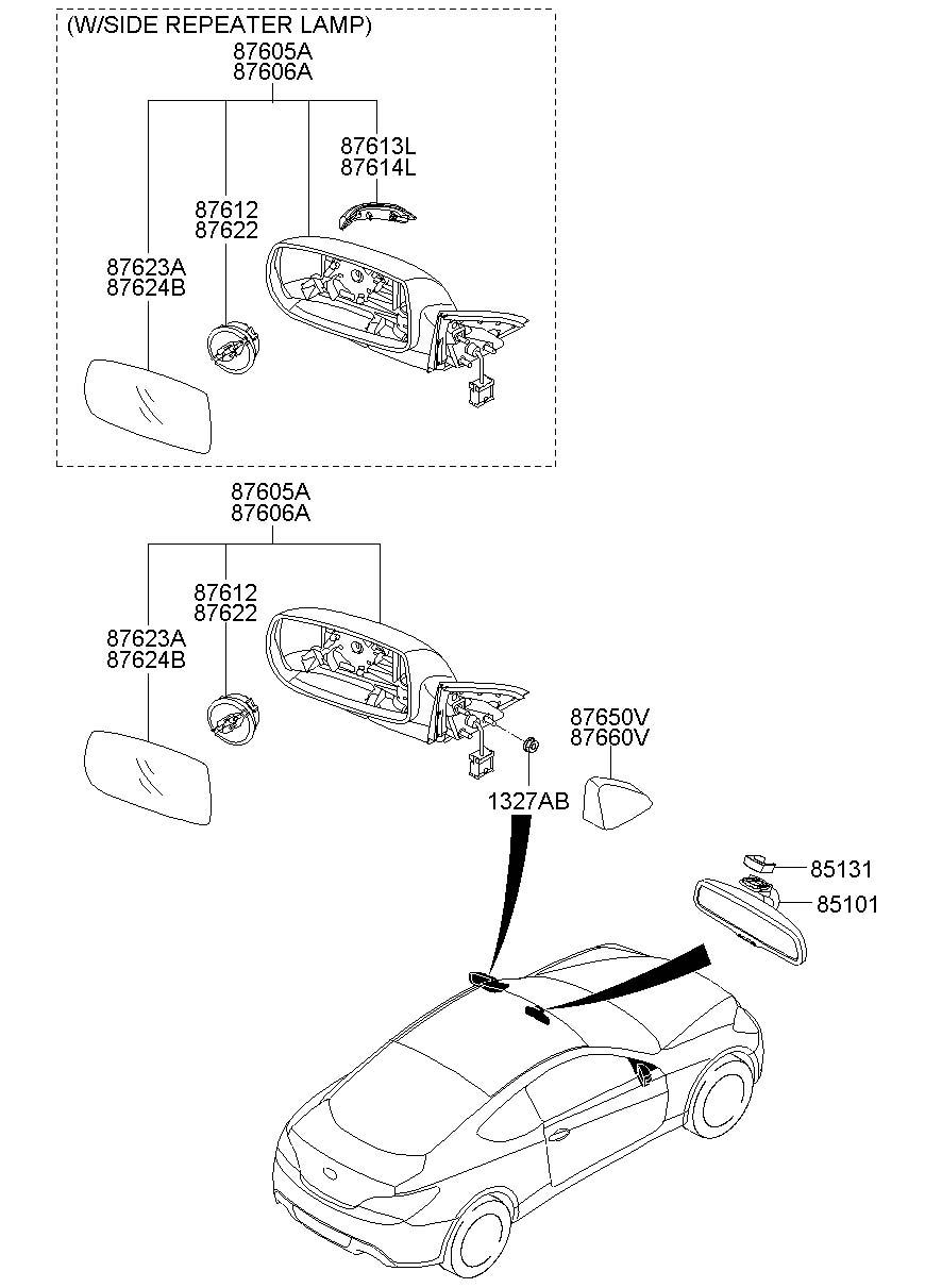 2013 Hyundai Genesis Coupe Door Mirror Trim Ring (Front