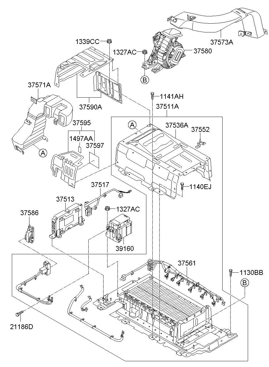 2011 Hyundai Sonata Battery module & saf plug assembly