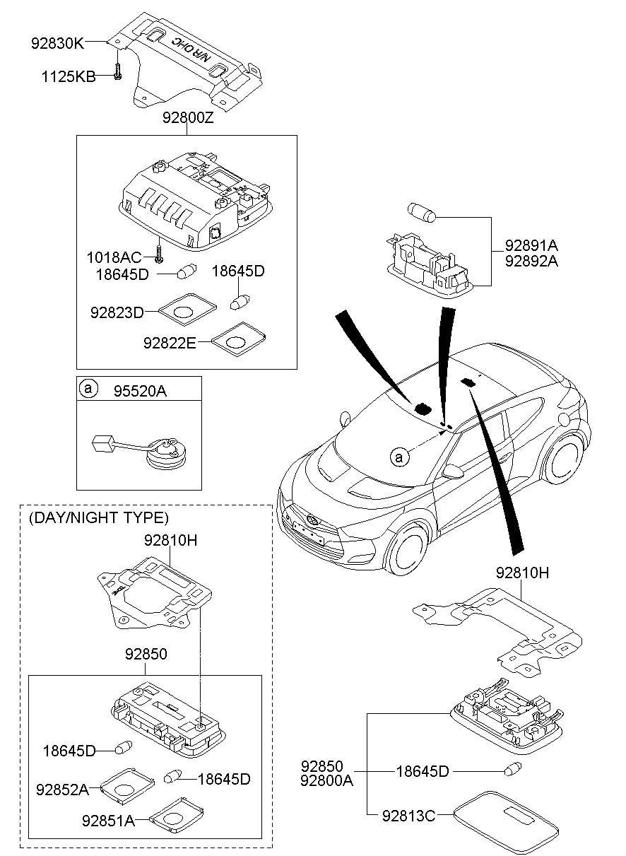 Hyundai VELOSTER Overhead. Lamp. Console. Assembly. Map