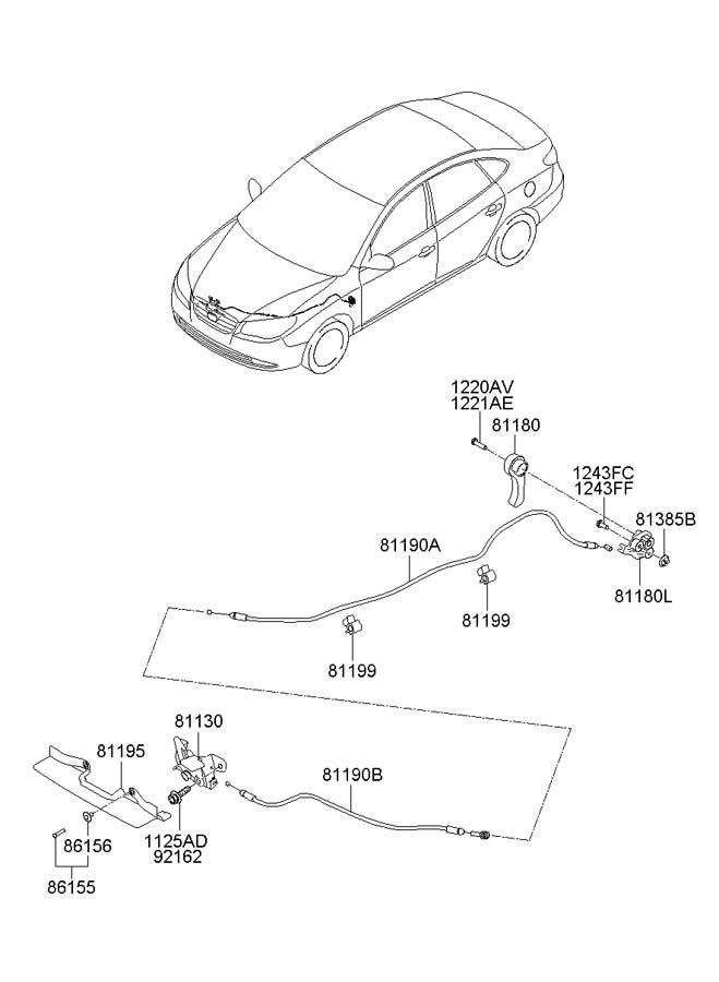 2009 Hyundai Elantra Clip. Hose. Washer. Cable. Release