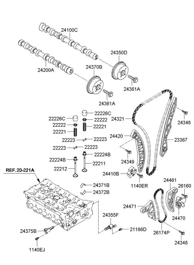 2011 Hyundai Tucson Chain. Engine. Oil. Pump. Timing. Stdd