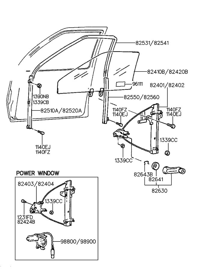 2000 Hyundai Elantra GLASS & REGULATOR-FRONT DOOR