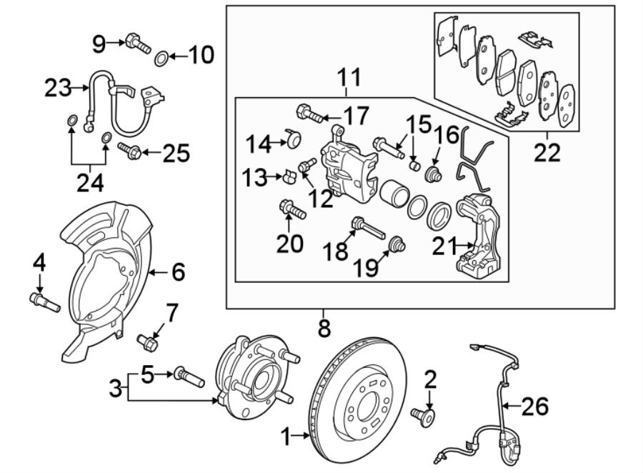 Hyundai Elantra Caliper. Kit. Front brake, right hand (rh