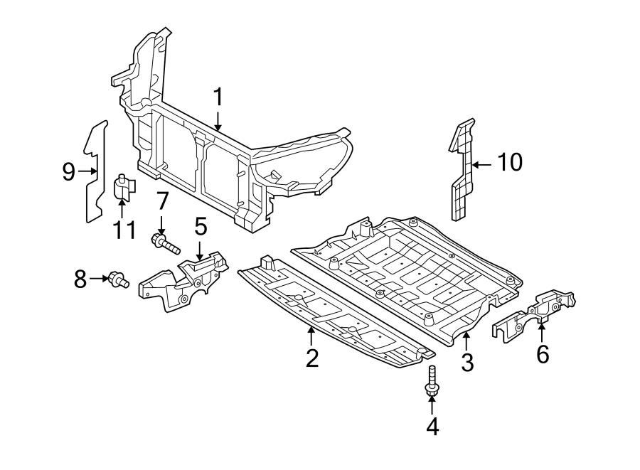2013 Hyundai Genesis Coupe Radiator Support Splash Shield