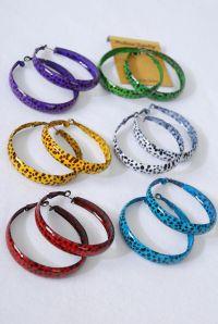 """Earrings Metal Hoop Cheetah Print/DZ **Post** Size-2"""" Wide ..."""