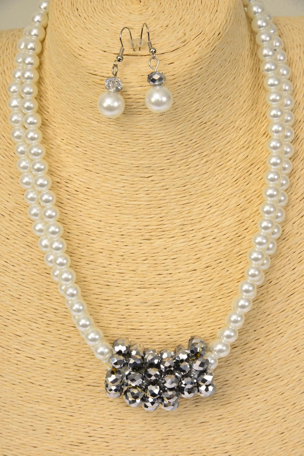 Necklace Sets 2 Line White Glass Pearls Slver Crystals