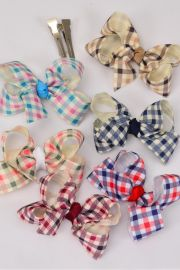 hair bow gingham grosgrain bow-tie dz