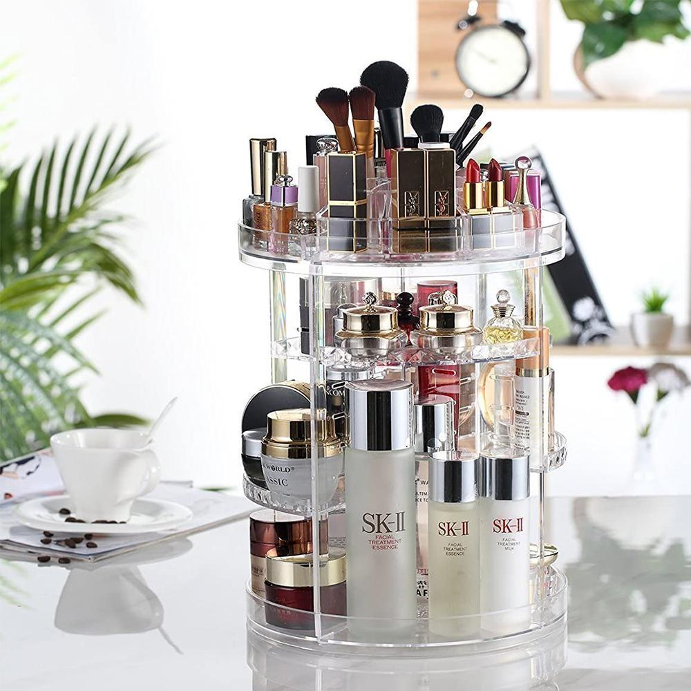 Cassidy Transparent 360 Degree Rotating Makeup Organizer for Cosmetics, Makeup Brushes, and Jewelry
