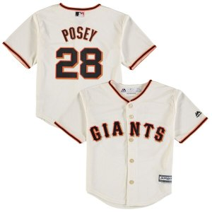 Preschool San Francisco Giants Buster Posey Majestic Cream Official Cool Base Player Jersey