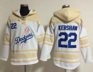 Dodgers #22 Clayton Kershaw White Sawyer Hooded Sweatshirt MLB Hoodie