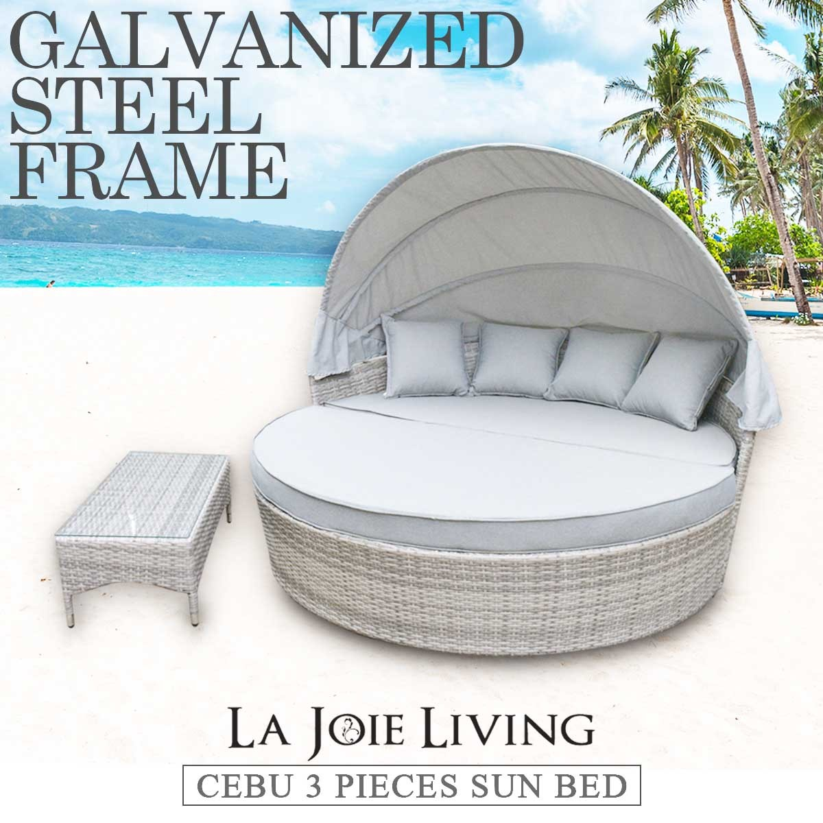canopy daybed outdoor wicker sun sofa lounge corner coffee table ideas cebu pe round day bed lounger rattan furniture set wholesales direct