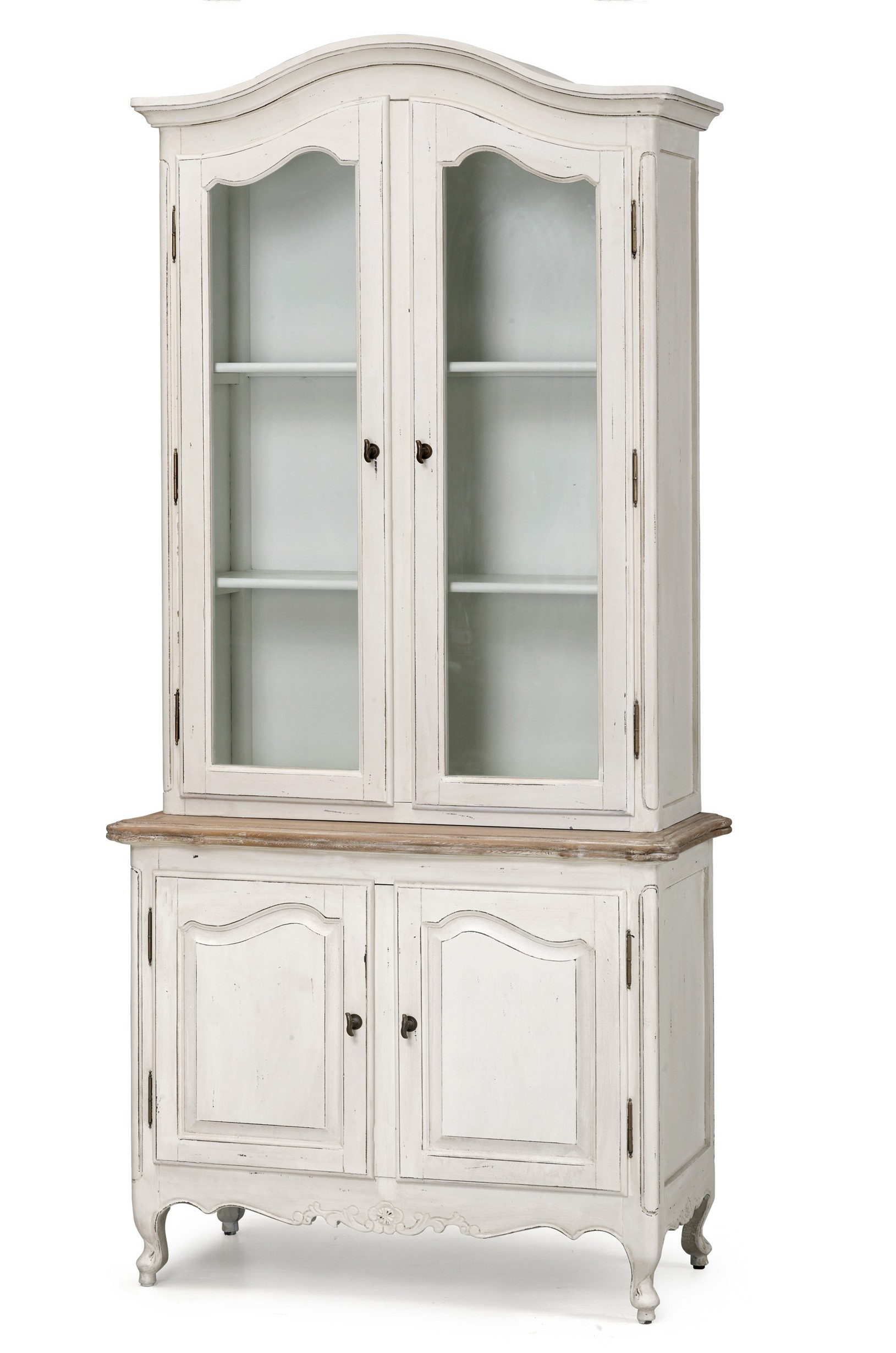 French Provincial Vintage Glass Display Buffet and Hutch