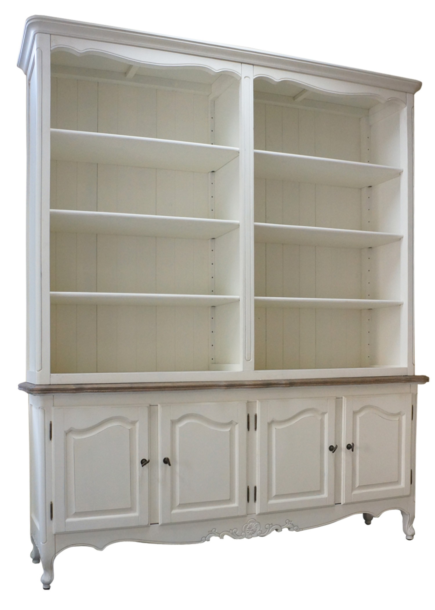French Provincial Buffet And Open Hutch Sideboard Dresser Bookcase In White Wholesales Direct