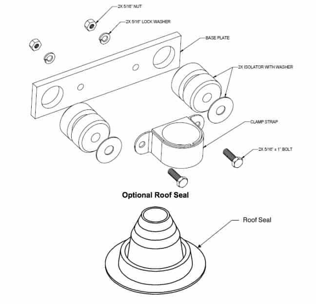 Primus Windpower Roof Mount Kit with Seal 1-TWA-19-01