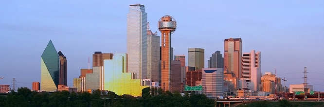 Downtown Dallas, Texas at dusk. Great RV Destination for WholesaleWarranties.com Customers.