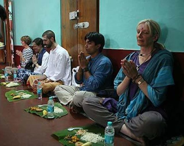 Sitting Cross Legged Floor Eat Asian Indian Culture Benefits Sukhasana