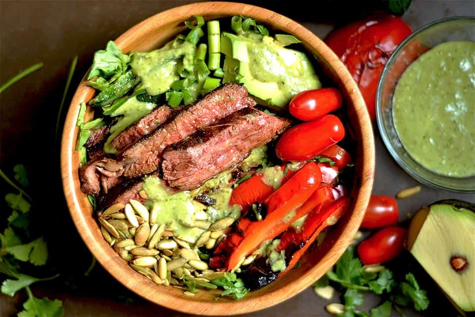 Grilled Fajita Steak Salad with Avocado Cilantro Dressing 2