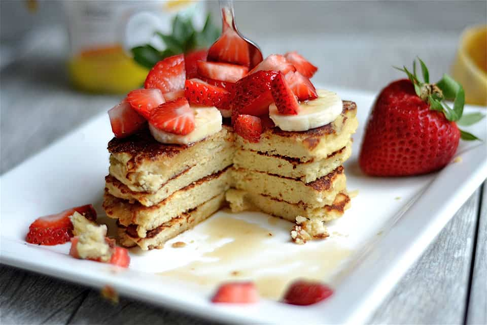 Strawberry Banana Protein Pancakes 2